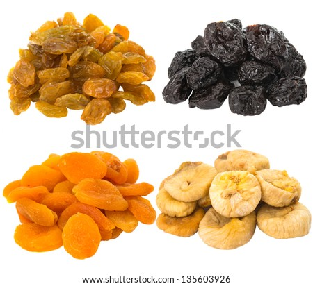 prunes, figs, dried apricots isolated on white background - stock ...