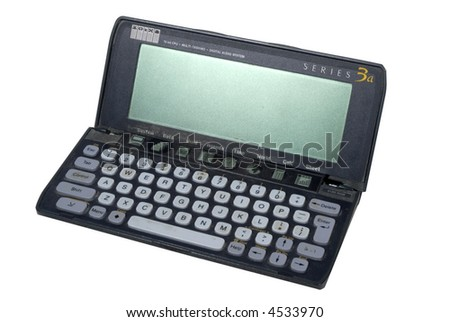 Psion retro PDA personal organiser  isolated on white - stock photo