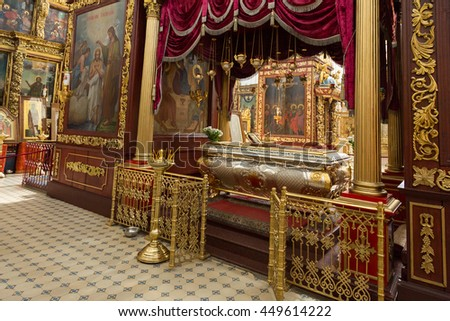 Pskov, Russia - June 13, 2016: Details of the interior of the Trinity Cathedral.