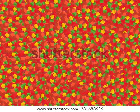 Psychedelic Abstract Red Yellow Green Background from shapes - stock photo