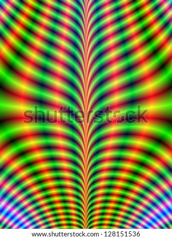 Psychedelic Breastplate / Digital abstract fractal image with a psychedelic design in green, blue and yellow. - stock photo
