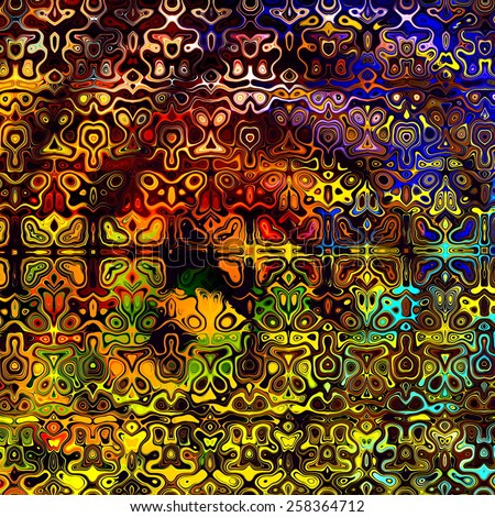 Psychedelic Colorful Art Background. Abstract Decorative Grunge. Weird Fractal Shapes. Colored Digital Fantasy. Artistic Modern Illustration. Red Yellow Orange Blue Black Colors. Creative Shape Image. - stock photo