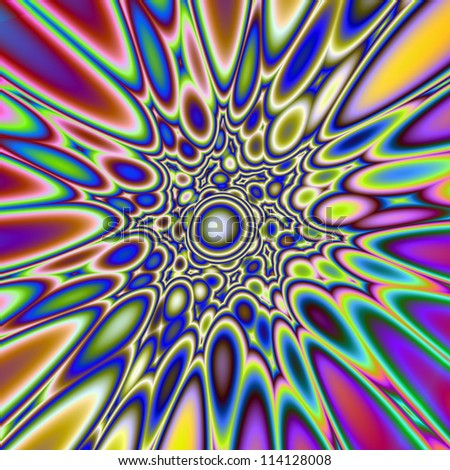 Psychedelic Explosion/Digital abstract image with an exploding  psychedelic design in blue, yellow, pink and purple.