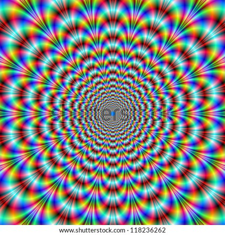 Psychedelic Eye Bender/Digital abstract image with a pulsing psychedelic design in blue, red, green. - stock photo