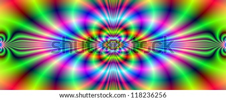 Psychedelic Neon Banner/Digital abstract image with a psychedelic neon pattern design in green purple red blue and pink.