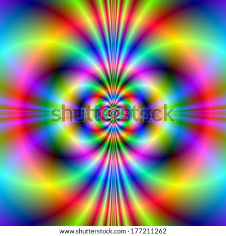 Psychedelic Neon Circles / Digital abstract fractal image with a colorful neon pattern in pink, yellow, green, blue and red. - stock photo