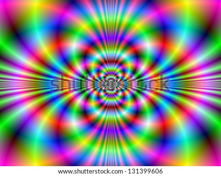 Psychedelic Neon / Digital abstract fractal image with a psychedelic neon design in green, blue and pink. - stock photo