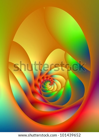 Psychedelic Oval Spiral - Digital abstract image with an oval window shaped design featuring a spiral in red yellow orange and green. - stock photo