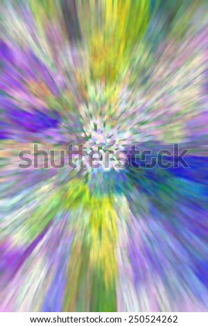 Psychedelic pointillized abstract with radial blur and flowery colors for themes of origins, centrality, nature and the outdoors