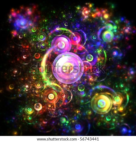 Psychedelic rainbow bubbles - stock photo