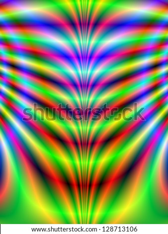 Psychedelic Ribs / Digital abstract fractal image with a psychedelic rib design in green, blue, red and yellow. - stock photo
