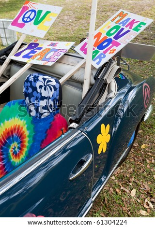 Psychedelic 1960s Hippie Car - stock photo