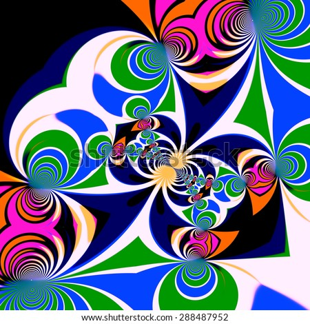 Psychedelic style background. Illustration design. Symmetrical pattern. Clipart spirals. Art decoration. Abstract effect. Generated backdrop. Different shapes and colors. Unusual geometric graphic. - stock photo