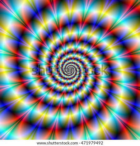 Psychedelic Twister / An abstract fractal image with a spiral twister design in red blue turquoise and yellow