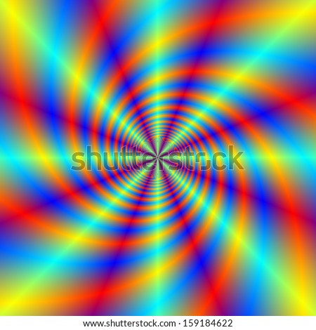 Psychedelic Whirl / Digital abstract fractal image with a psychedelic swirl design in blue, red, yellow and orange. - stock photo