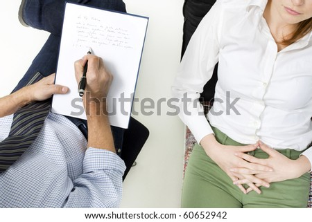 psychiatrist with patient - stock photo