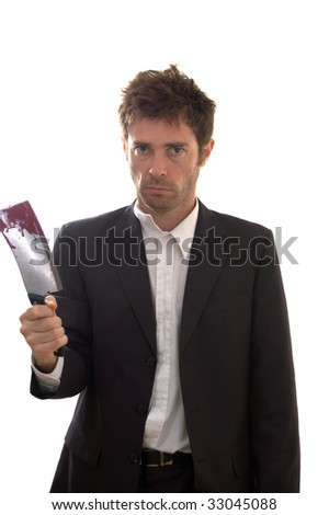 Psycho business man with fake blood on meat cleaver