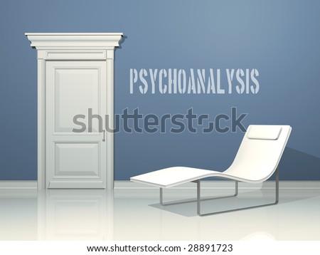 psychoanalysis deckchair , interior design with minimal elements - stock photo