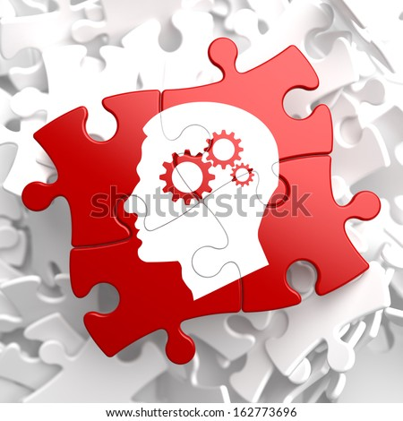Psychological Concept - Profile of Head with Cogwheel Gear Mechanism Located on Red Puzzle. - stock photo