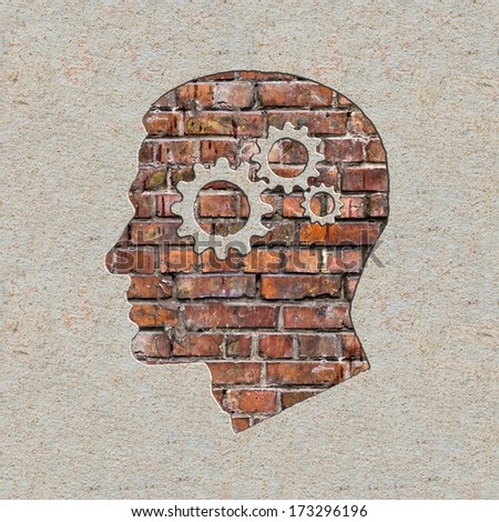 Psychological Concept - Profile of Head with Cogwheel Gear Mechanism on the Brick and Plastered Wall. - stock photo