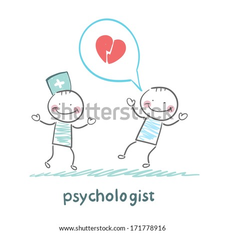 psychologist is listening to the patient, who speaks of love - stock photo