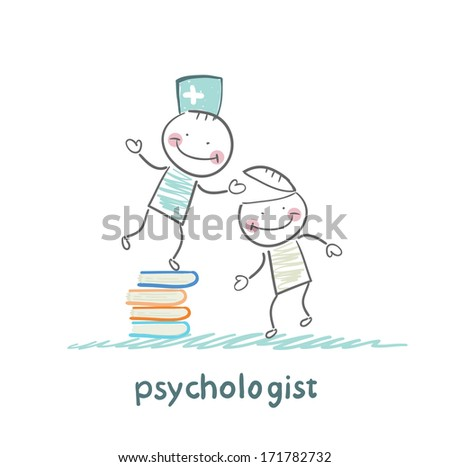 psychologist is on a stack of books and gives the patient a tablet - stock photo