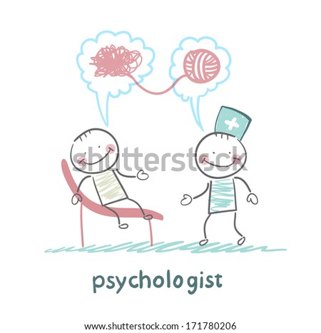 psychologist says to the patient, and solves problems - stock photo