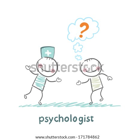 Psychologist talking to a patient who thinks of a question mark - stock photo