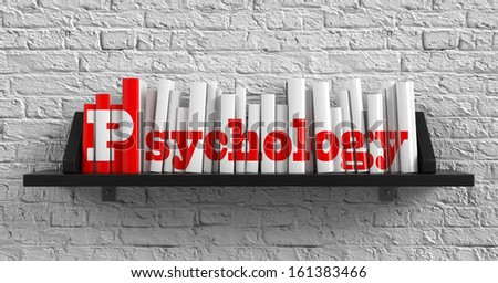 Psychology - Red Inscription on the Books on Shelf on the White Brick Wall Background. Education Concept. - stock photo