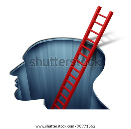 Psychotherapy and psychology for the study of the human brain function and intelligence by a psychiatry therapist with a head profile and a red ladder going deep into the mind. - stock photo