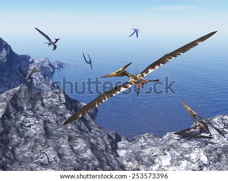 Pteranodon birds flying upon costal rocks by beautiful day - 3D render - stock photo