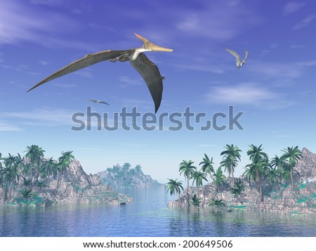 Pteranodon birds flying upon islands with palm trees by beautiful day - stock photo