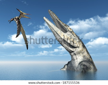 Pterosaur Pteranodon and Mosasaur Tylosaurus Computer generated 3D illustration - stock photo