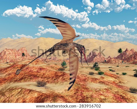 Pterosaur Rhamphorhynchus Computer generated 3D illustration - stock photo