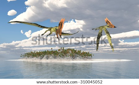 Pterosaur Thalassodromeus over an ocean landscape Computer generated 3D illustration - stock photo