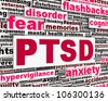 PTSD message conceptual design. Mental health anxiety disorder - stock photo