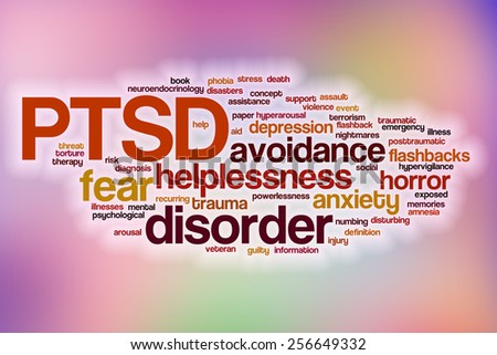 PTSD word cloud concept with abstract background - stock photo