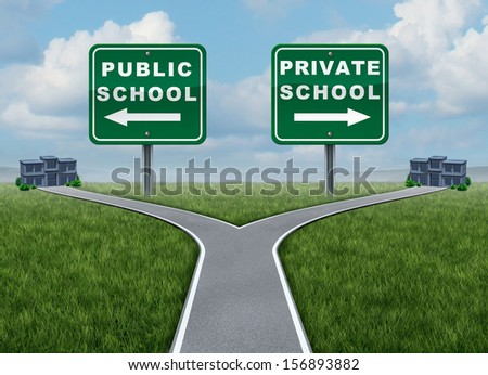 Public and private school choice education concept as a crossroads street  with two opposite road or highway signs leading to buildings as an icon of choosing places for educating children. - stock photo