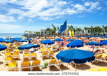 Public beach of Puerto de Mogan, Gran Canaria.  - stock photo