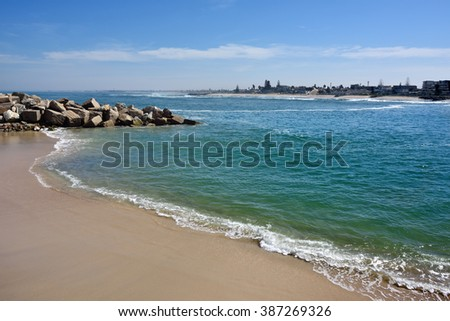 Public beach on the ocean shore in Swakopmund. Swakopmund was founded in 1892, by Captain Curt von Francois as the main harbour of German South West Africa - stock photo