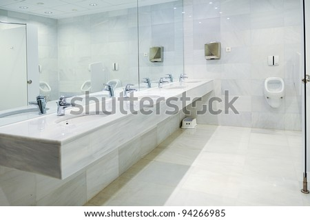Public empty restroom with washstands mirror. Public Washroom Stock Photos  Royalty Free Images  amp  Vectors