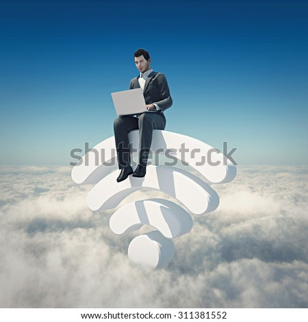 Public free Wi-Fi hotspot zone wireless connection template. Businessman surfing internet on WiFi shaped podium in clouds. Clouds technology globalization and reachability. - stock photo