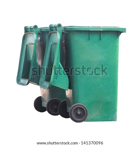 Public green bins with two wheels