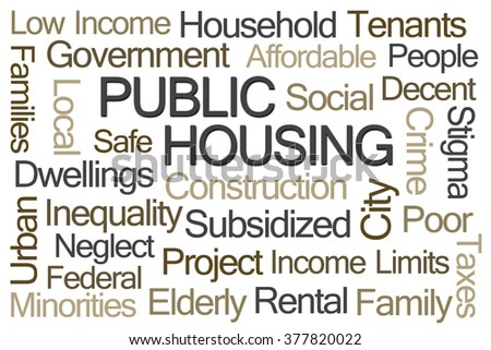 Public Housing Word Cloud on White Background - stock photo