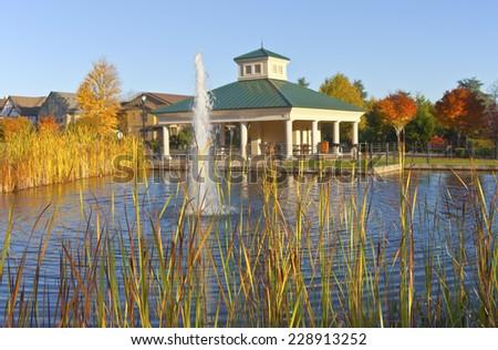 Public park and fountain Wilsonville Oregon. - stock photo