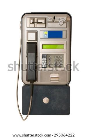 Public Payphone Isolated on White Background.  - stock photo