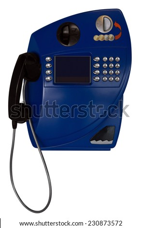 Public Payphone Isolated on White Background. Clipping Path included. - stock photo