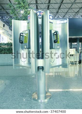 Public phone in airport - stock photo