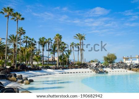 public pools Lagos Martianes at  Puerto de la Cruz, Tenerife, Spain - stock photo