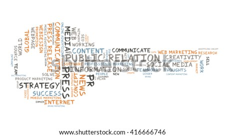 Public Relation word cloud as a key - stock photo